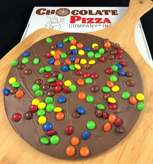 colorful candy topped Chocolate Pizza milk