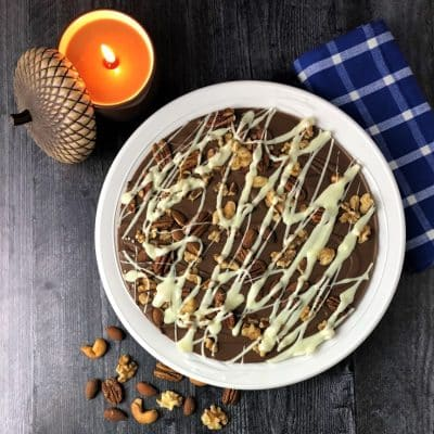 Chocolate Pizza with pecans almonds walnuts
