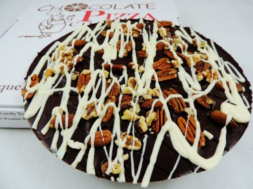 dark chocolate pizza with nuts