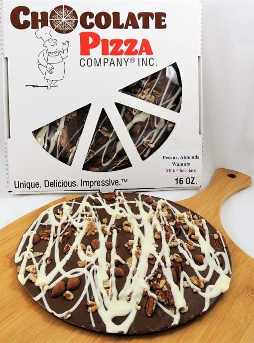chocolate pizza with pecans almonds walnuts and pizza box