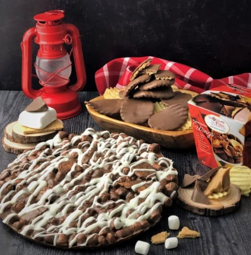 combo campfire smore chocolate pizza on table