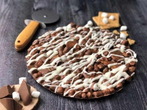 campfire smore chocolate pizza with marshmallows