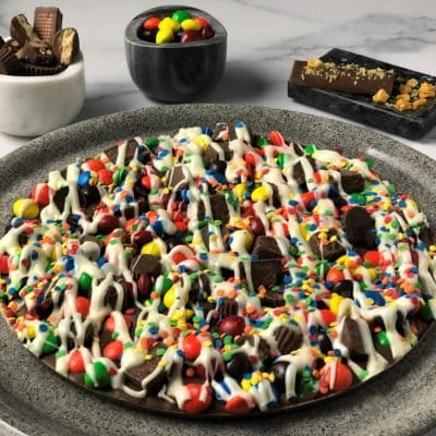 chocolate pizza loaded with colorful candies