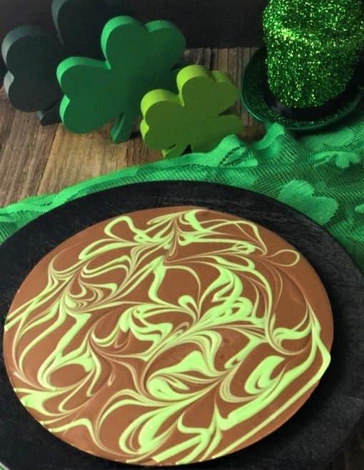 Irish cream Chocolate Pizza with green swirls in milk chocolate