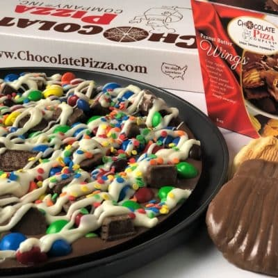 combo avalanche chocolate pizza and peanut butter wings in milk chocolate