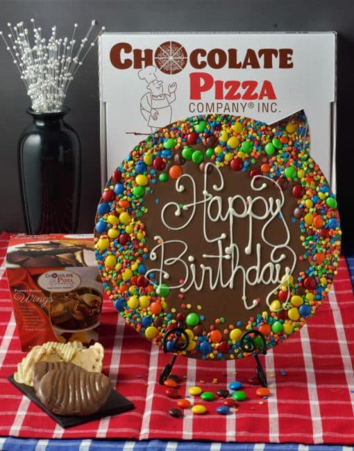 combo birthday chocolate pizza and wings