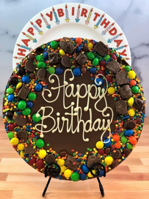 happy birthday chocolate pizza with candy border