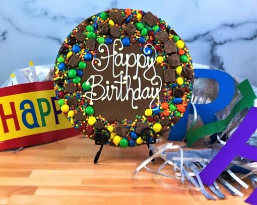 happy birthday chocolate pizza with colorful candy border