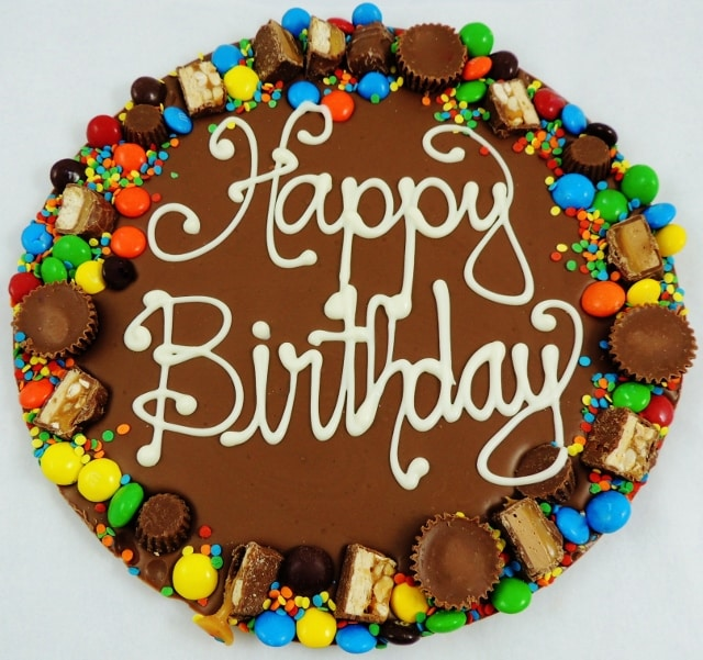 Birthday Gifts Chocolate Pizza hand decorated avalanche border