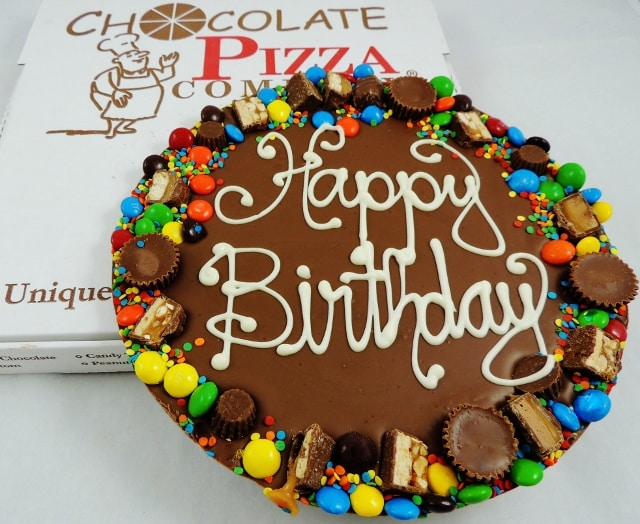 Birthday Gifts Chocolate Pizza | hand decorated avalanche border