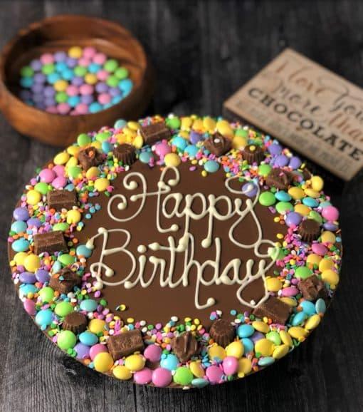 pastel color chocolate pizza happy birthday