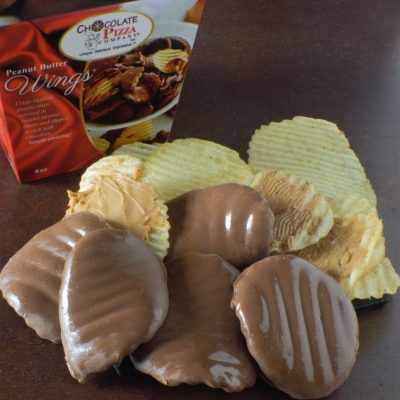 milk chocolate peanut butter wings with potato chips and box