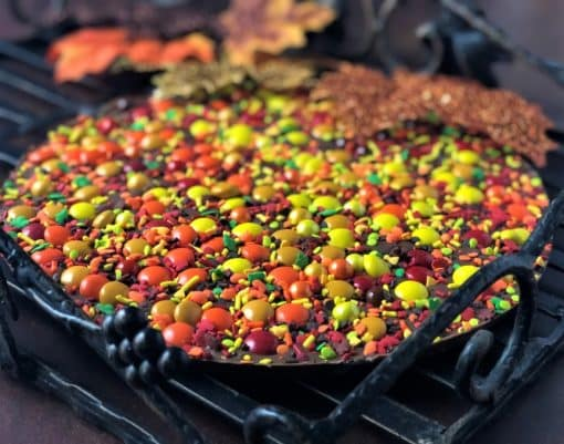 chocolate pizza with autumn colors candy
