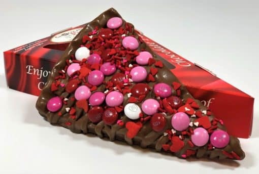 slice of chocolate pizza with gift box