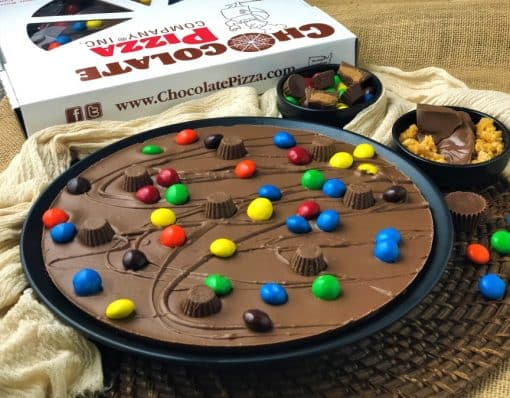 Chocolate Pizza topped with peanut butter cups candies