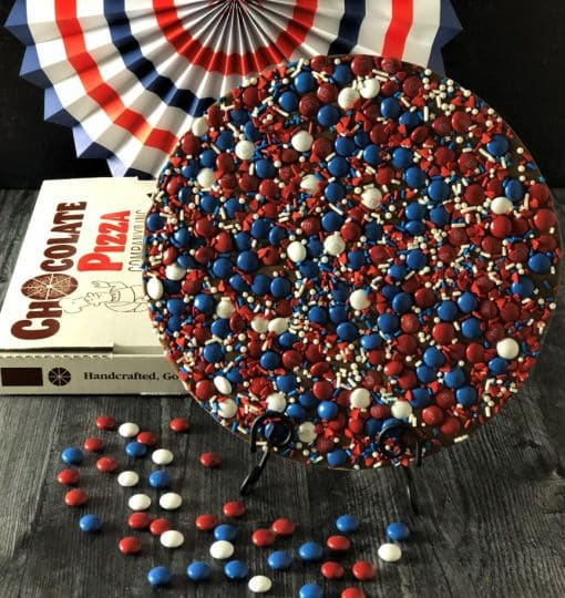 Fourth of July red white blue Chocolate Pizza