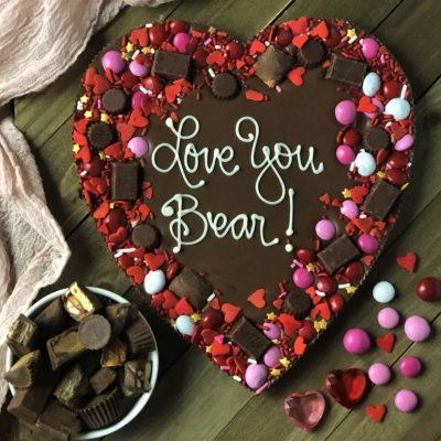 your words make this custom heart shape chocolate pizza