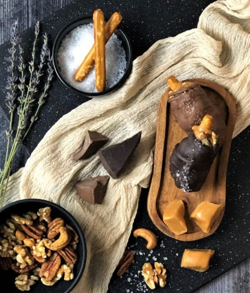 caramel and nut drumsticks in milk and dark chocolate