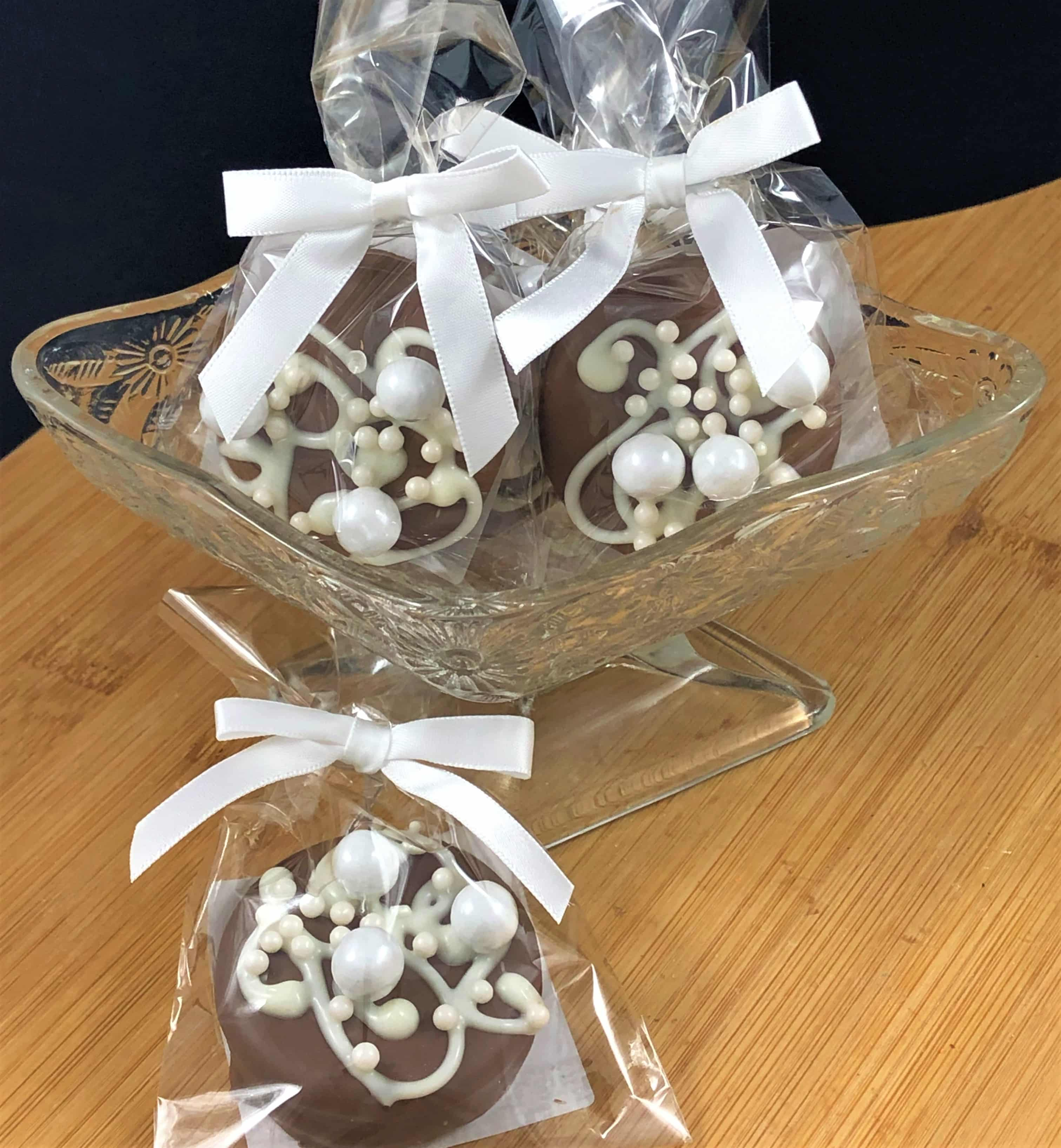 Chocolate Wedding Favors.Elegant Wedding Favors Lace Pearls Chocolate Cookie 10 Count