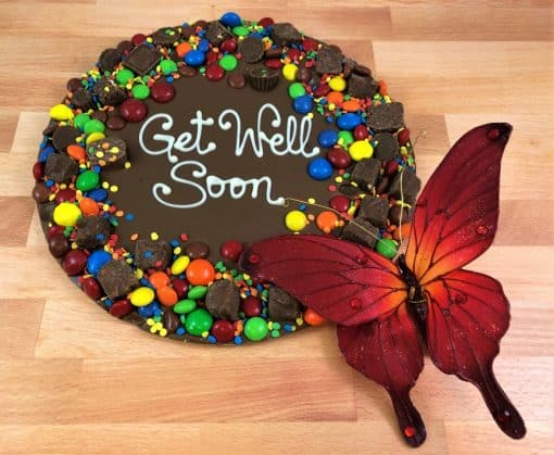 get well soon chocolate pizza with colorful candy border