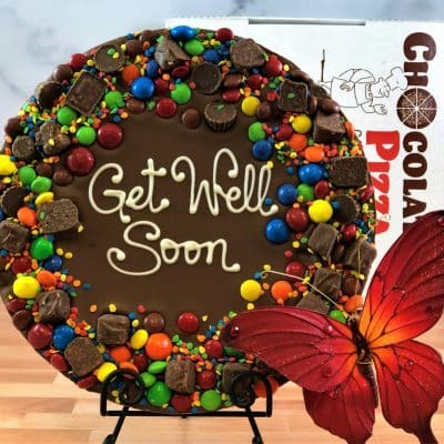 get well soon chocolate pizza with candy avalanche border