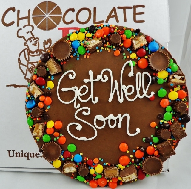 Get Well Wishes Chocolate Pizza | chocolate gifts to get well soon