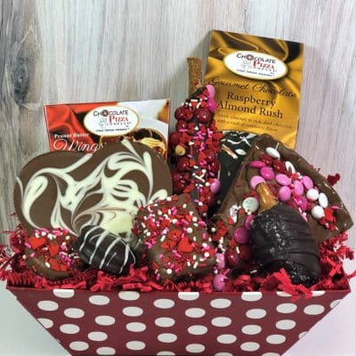 assorted Valentines chocolates in red gift basket