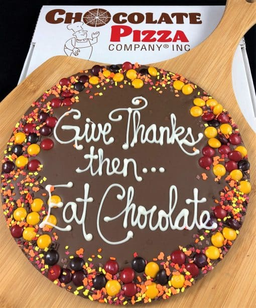 give thanks then eat chocolate autumn candy border