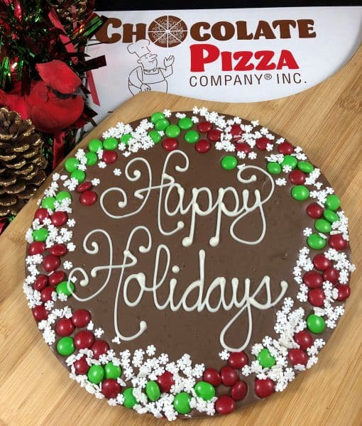 happy holidays chocolate pizza