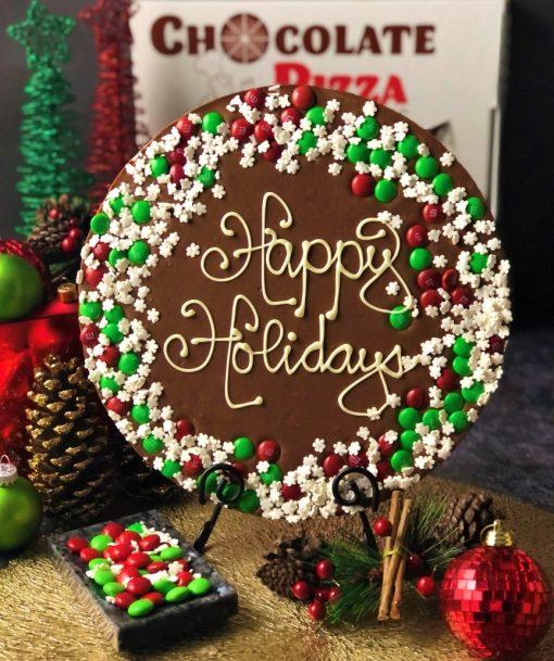 snowflake border chocolate pizza happy holidays