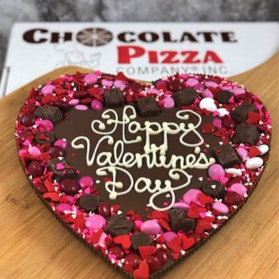 heart shaped chocolate pizza