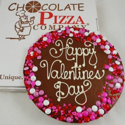Valentines day chocolate pizza