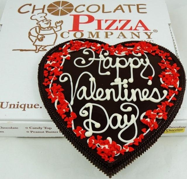 heart shaped chocolate pizza
