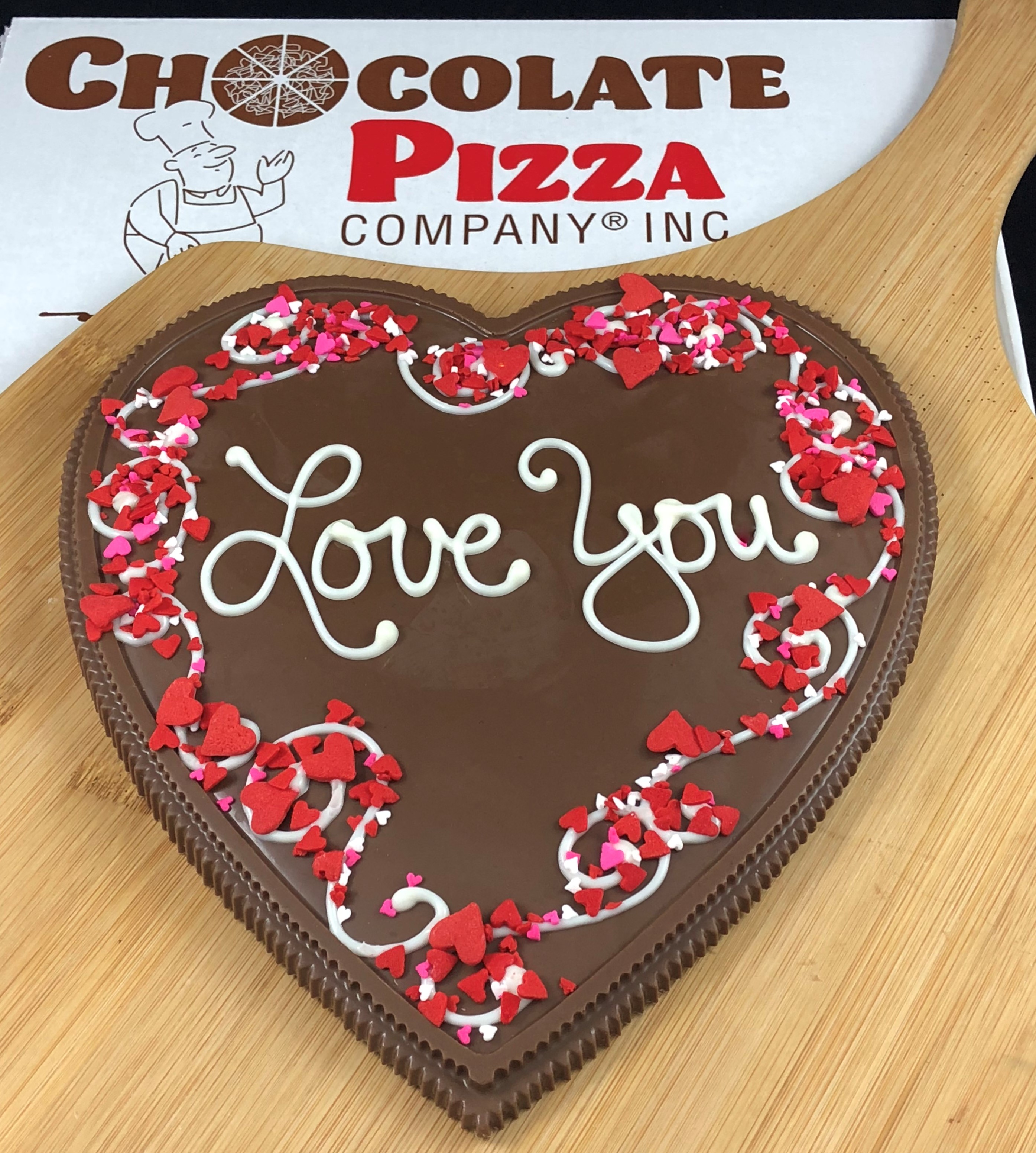 Heart Chocolate Pizza | Love You, sugar hearts border ...