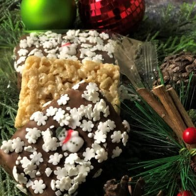 holiday rice crispy square
