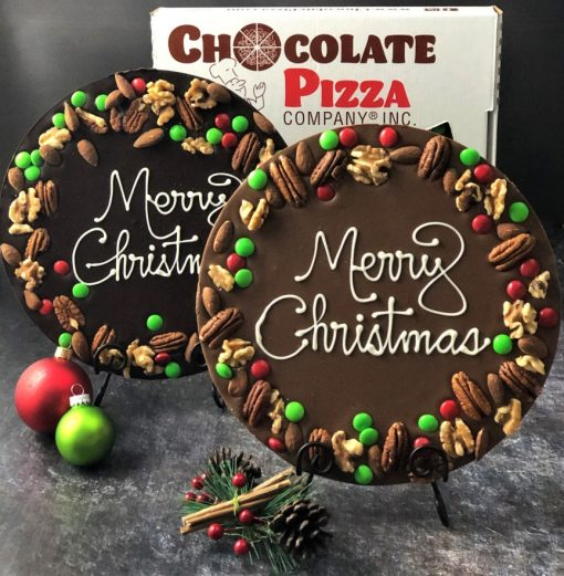milk and dark chocolate holly berry pizzas