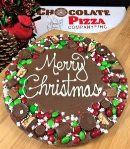 merry Christmas avalanche wreath chocolate pizza