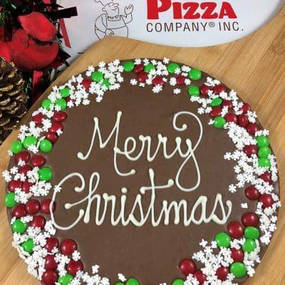 snowflake border merry Christmas chocolate pizza