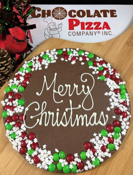 snowflake border merry Christmas chocolate pizza