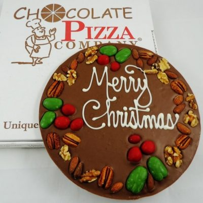 holly berry and nut Chocolate Pizza