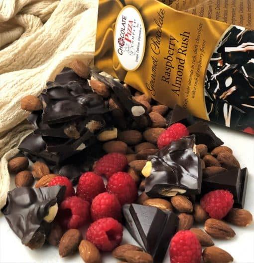dark chocolate with almonds and raspberry