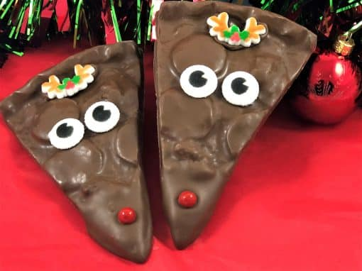 reindeer chocolate pizza slice
