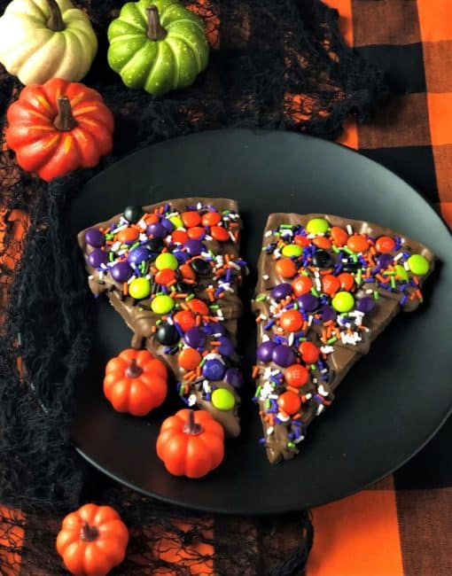 Chocolate Pizza Slice with spooky candy toppings