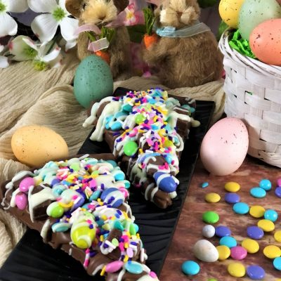 spring avalanche slice on plate with Easter decorations
