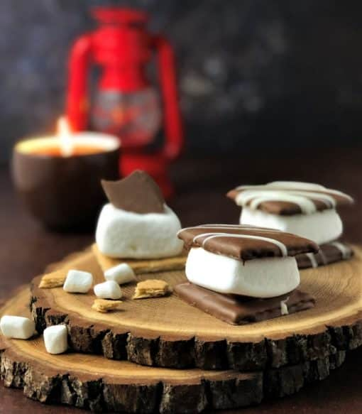 smores on wood block