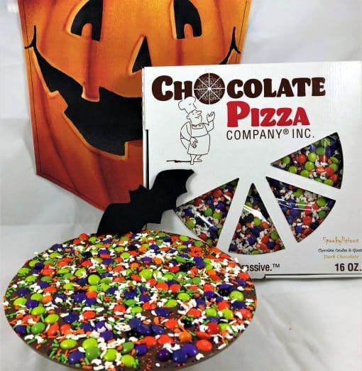 spooky Halloween chocolate pizza