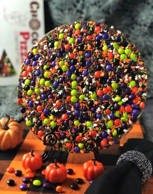 spooky licious Chocolate Pizza for Halloween