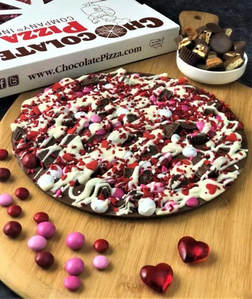 milk chocolate pizza topped with candy