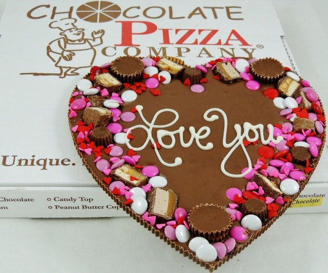 to the moon heart chocolate pizza gift