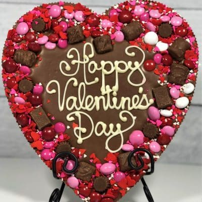 Valentines heart chocolate pizza